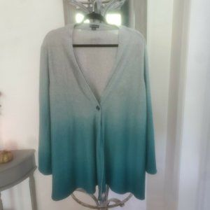 New Directions curvy Plus Size Sweater Teal And Gray